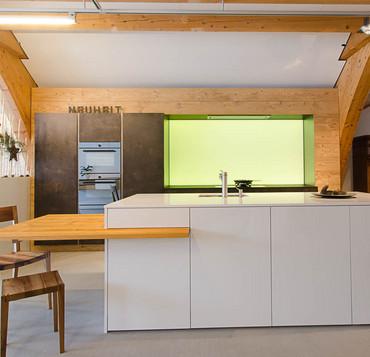 Ausstellungsküche trend weiss stone altholz nr 2104694